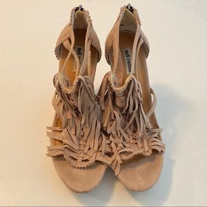 Not Rated Faux Suede Fringed Cork Wedges